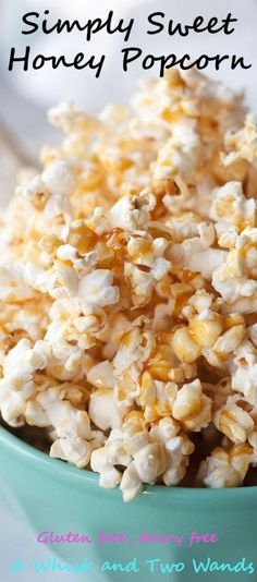 """Simply Sweet Honey Popcorn is delicious honey kissed """"caramel like"""" popcorn that is quick and easy to make and sure to sweeten snack time or your next movie night! Naturally gluten free and dairy free made with just 4 simple ingredients!"""