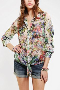 Pins And Needles Silky Tie-Front Blouse