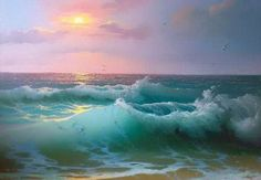 Ocean Scenes, Beach Scenes, Ocean Pictures, Nature Pictures, Seascape Paintings, Landscape Paintings, Sea Art, Sea Waves, Scenery