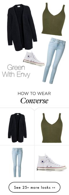 """""""Green With Envy"""" by mpileri on Polyvore featuring Acne Studios, Frame Denim and Converse"""