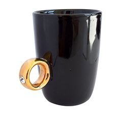 Heiratsantrag Tasse Ring Cup von Invotis schwarz Kemis Clay Mugs, Tea Time, Tableware, Rings, Black, Vases, Mugs, Bottles