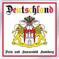Acrylic Fridge Magnet: Germany. Coat of Arms of Hamburg (Freie und Hansestadt Hamburg)