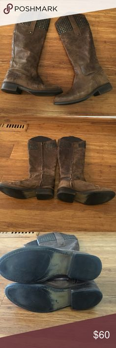 Steve Madden tall brown stud boots Nice leather brown stud boots by Steve Madden. Size 10. Reggime Steve Madden Shoes Over the Knee Boots