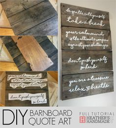 DIY barnboard wall art with inspirational quotes { Heather's Handmade Life }