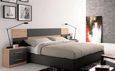 Dormitorio matrimonio con cabezal moderno y mesitas