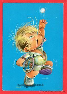 postal de niño jugando a tenis  dibujo de grabriel editada c y z escrita el año 1967