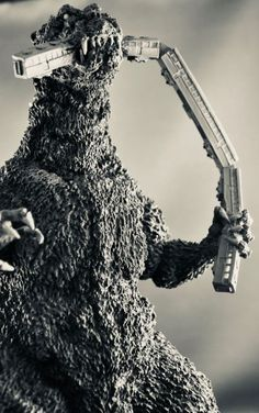 The X-Plus Godzilla in glorious black and white. Photo by Stan G. Classic Monster Movies, Classic Horror Movies, Classic Monsters, Horror Films, Horror Art, Cool Monsters, Famous Monsters, Tmnt, Old Posters