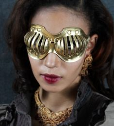 Eyecage Leather Mask in Gold by TomBanwell on Etsy, $49.00