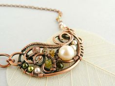 Wire Jewelry - Wire Pendant - Copper pendant  - Tourmaline - Spring - Green - Pearls -Original design on Etsy, $84.00