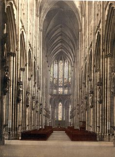 The Cathedral Interior, Cologne, the Rhine, Germany (via historyfish)