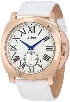 A Line AL80007RG02WH - Reloj de Caballero movimiento de cuarzo con correa de piel Blanco