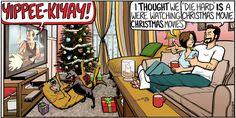 Some people have different ideas of #Christmas movies... | Read Beardo #comics @ www.gocomics.com/beardo/2014/12/21?utm_source=pinterest&utm_medium=socialmarketing&utm_campaign=social-pin | #GoComics #webcomic