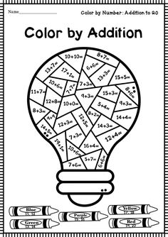 Back to School Color by Addition Worksheets by Terrific Teaching Tactics Free Kindergarten Worksheets, 1st Grade Worksheets, Science Worksheets, School Worksheets, Math Resources, Worksheets For Kids, All About Me Printable, Math Charts, Addition Worksheets
