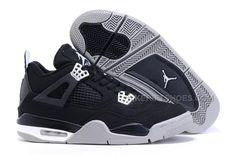 the latest 04694 1d6e2 Air Jordan 4 (IV) Retro Black Canvas White-Grey