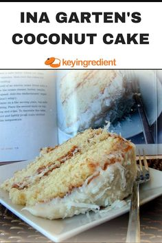 """This recipe, from """"Barefoot Contessa at Home"""" was a success at my dinner party. The cake was very moist, not too sweet with the right balance of coconut. Some reviewers say to replace the milk with coconut milk, and to use coconut extract instead of almond extract; I might try that next time. The frosting was good, but this could be excellent with a butter cream frosting. Overall, it was very easy to make and I'd make it again! Great job, Ina Garten!"""