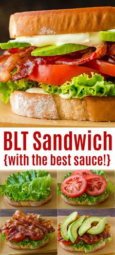 The ultimate BLT Sandwich with toasted bread, crisp bacon, tomato, avocado, and a 3-ingredient sauce that makes this the best BLT recipe you'll try! And it's perfect for a 4th of July Party! #blt #bltsandwich #bacon #avocado #tomato #lettuce Blt Recipes, Vegetarian Recipes, Dinner Recipes, Cooking Recipes, Healthy Recipes, Easy Recipes, Dinner Ideas, Gourmet Sandwiches, Wrap Sandwiches