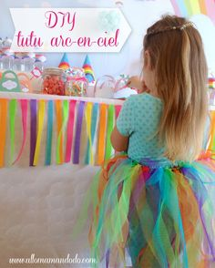 DIY tulle skirt tutu jupon arcenciel rainbow tuto anniversaire birthday
