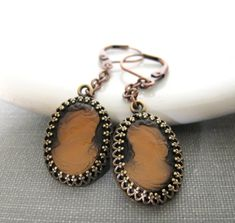 Copper Earrings Cameo Earrings Glass Cameo Cameo by fiveforty, $48.00