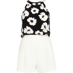 02a4d160df River Island Black and white floral smart playsuit ( 26) ❤ liked on Polyvore  featuring jumpsuits