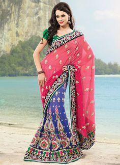 Magnificent blue and pink lehenga saree