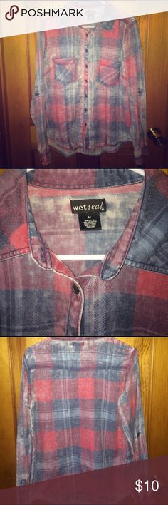 Faded Red and Blue Flannel Button Down In good used condition. Faded style. Thinner, soft material. Size M. Some minor pilling in a few areas. Perfect for country concerts!! Wet Seal Tops Button Down Shirts