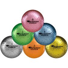 Chromax Titanium Metallic Series Golf Balls: Easy to spot in the air or on the ground. Available in 6 colors and two finishes.