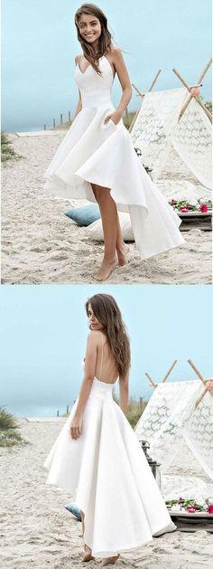 Charming A-line Spagetti Strap V-neck High-Low Beach Wedding Dresses M3789