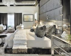 From geometric light fixtures to exposed steel beams and brick, these Chicago homes ooze industrial influence. - Luxury Homes Casa Da Kris Jenner, Home Bedroom, Bedroom Decor, Master Bedroom, Bedroom Ideas, Bedroom Wall, Bedroom Designs, Bedroom Wardrobe, Gray Bedroom