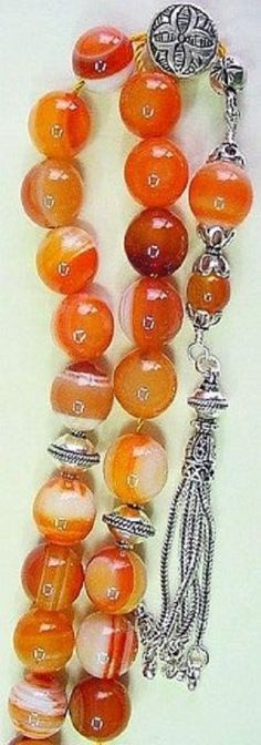 Greek Komboloi Banded Agate and Sterling Silver