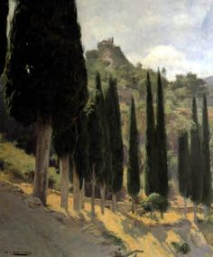 Landscape in Tamarit, Oil on Canvas, 1926 -  Ramon Casas i Carbo (Catalan painter, 1866-1932)