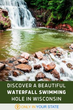 Discover a hidden, secluded waterfall swimming hole in Wisconsin! It's a local secret in Lake Redstone County Park. It's clean and pristine with little hiking required, making it a perfect day trip for kids and families. The park also offers a playground and beach. | Things To Do | Travel | Waterfall Photoshoot | Beautiful Places | Outdoors Day Trips For Kids, Beautiful Places In America, Redstone, Hidden Beach, County Park, Local Attractions, Swimming Holes, Beautiful Waterfalls, Family Day
