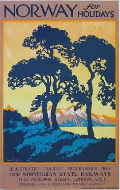 Freda Lingstrom (1893-1989) Norway for Holidays, original poster printed for Norwegian State Railways by Hammond & Griffiths Ltd, circa 1930 - 102 x 64 cm