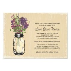 Vintage Mason Jar and Wildflowers Bridal Shower Personalized Invitation lowest price for you. In addition you can compare price with another store and read helpful reviews. BuyDiscount Dealstoday easy to Shops & Purchase Online - transferred directly secure and trusted checkout...