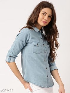 Shirts Trendy Designer Denim Shirts For Women  *Fabric* Denim   *Sleeves* Sleeves are Included   *Size* S - 36 in, M - 38 in, L - 40 in, XL - 42 in   *Length* Up To 28 in   *Type* Stitched   *Description* It Has 1 Piece Of Shirt   *Pattern * Solid  *Sizes Available* S, M, L, XL *   Catalog Rating: ★4 (606)  Catalog Name: Free Mask Trendyfrog Classy Denim Shirts Vol 12 CatalogID_24438 C79-SC1022 Code: 823-237461-