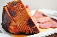 HAM RECIPE - 1 (8-lb) full cooked ham, spiral sliced; 1 (12-oz) can Coca-Cola; 1 c brown sugar, firmly packed. Preheat oven to 325º. Place ham in a roasting pan. Combine Coca-Cola & brown sugar & pour over ham. Cover tightly with foil. Bake 1 hr. Then uncover ham & baste well with pan juices. Recover. Repeat every 15 min til the thickest part of the ham registers 140º on a meat thermometer.  Remove roasting pan from the oven & baste again. Let the ham stand for about 15 min before carving.