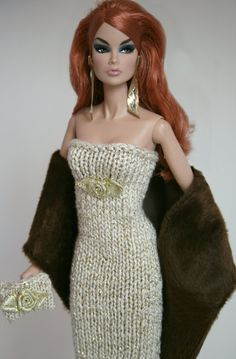 Elegant Gold Dress with Fur Stole for Barbie by ChicBarbieDesigns, $24.99