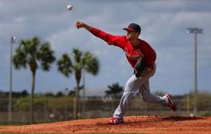 pitcher Joe Kelly throws live batting practice at the Cardinals spring training  2-20-14
