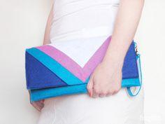 Geometric turquoise blue pink felt clutch by FancyfeltShop on Etsy