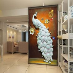 Discover thousands of images about Delicate Three-dimensional Sculpture Peacock Wall Art Prints on sale, Buy Retail… Peacock Wall Art, Peacock Painting, Peacock Decor, Peacock Pillow, Clay Wall Art, Mural Wall Art, Clay Art, Sculpture Painting, Mural Painting