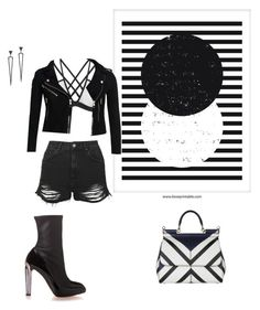 """""""Fade in and Out"""" by nudespoonseuphoria on Polyvore featuring Topshop, Superdry, Alexander McQueen, Sidney Chung, Dolce&Gabbana, leatherjacket, highheelboots and shreddedsweater"""