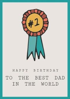 A Happy Birthday Dad Card Template With Medallion Illustration On Beige Background