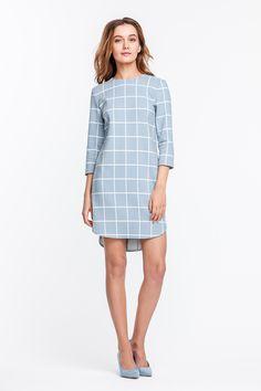 2247 Платье мини в бело-голубую клетку, юбка разной длины купить в Украине, цена в каталоге интернет-магазина брендовой одежды Musthave