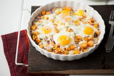 Roasted Sweet Potatoes, Gorgonzola and Baked Eggs from Naturally Ella