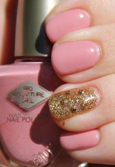 Bio Sculpture pink and gold studded glitter mani. Mani Pedi, Manicure, My Favorite Color, My Favorite Things, Hair Hacks, Hair Tips, Bio Sculpture, Funky Nails, Fabulous Nails