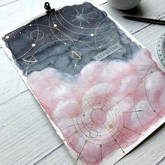 Last night I made another dreamy sky with different colors and yes I've seen pink clouds before! This morning I spent a little time… Bullet Journal Art, Bullet Journal Ideas Pages, Bullet Journal Inspiration, Illustration Inspiration, Kunstjournal Inspiration, Galaxy Painting, Galaxy Art, Art Sketches, Art Drawings