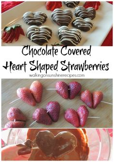 Chocolate Covered Heart Shaped Strawberries are a delicious treat for Valentine's Day - Walking on Sunshine Recipes.