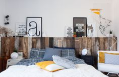 Ilse and Jasper are thrilled with the result of their reclaimed wood headboard, a joint DIY project.