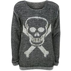 Tabitha Skull and Crossbones Jumper ($22) ❤ liked on Polyvore featuring tops, sweaters, black, jumper top, cross tops, skull print sweater, black top and black sweater