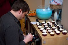 Geek Party Snacks and Games. Our cupcakes had star ships on them and the guest that correctly identified the most got the first cupcake.