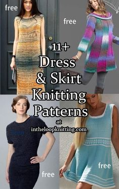 Knitting patterns for dresses and skirts. Most patterns are free